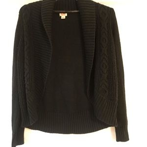 Missimo Cable Knit Sweater Front Black Cardigan